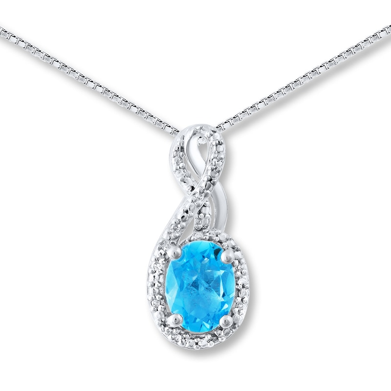 Blue Topaz Necklace Diamond Accents Sterling Silver Womens Necklaces Necklaces Kay