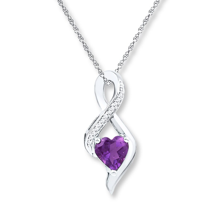 Heart Amethyst Necklace 1 20 Ct Tw Diamonds Sterling
