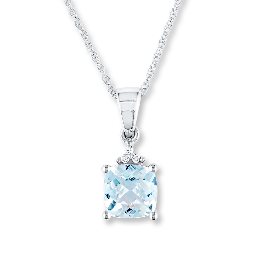Kay - Aquamarine Necklace Diamond Accents 10K White Gold