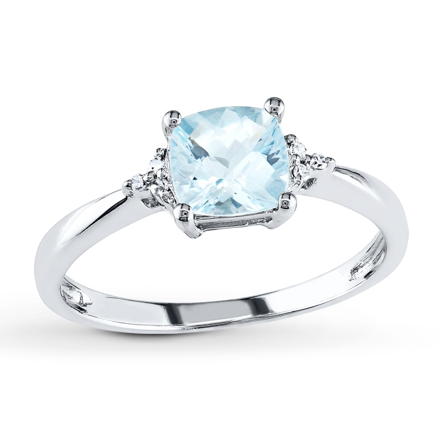 Kay Aquamarine Ring Diamond Accents 10K White Gold