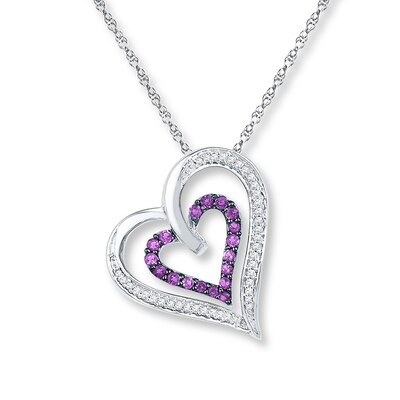 Amethyst Heart Necklace 1/6 ct tw Diamonds Sterling Silver