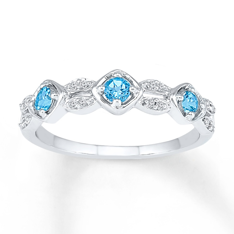 Kay Blue Topaz Ring 1 15 ct tw Diamonds 10K White Gold