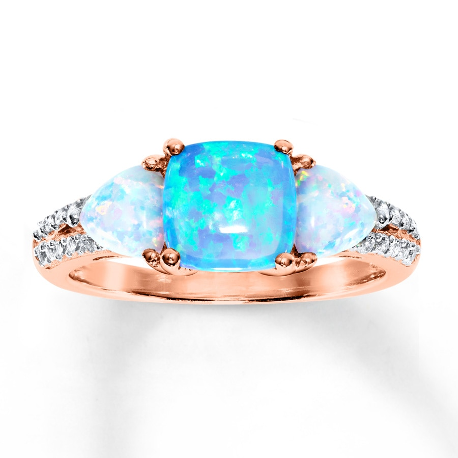 Kay LabCreated Opal Ring LabCreated Sapphires 10K Rose Gold