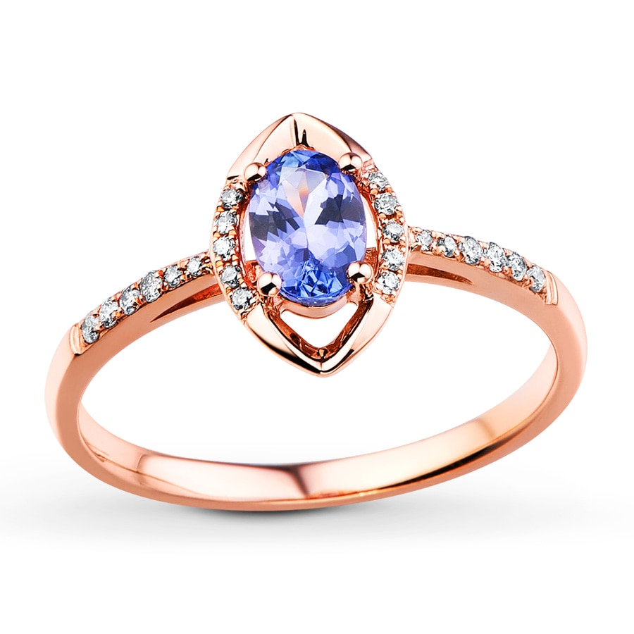 Kay Tanzanite Ring 1 10 ct tw Diamonds 10K Rose Gold