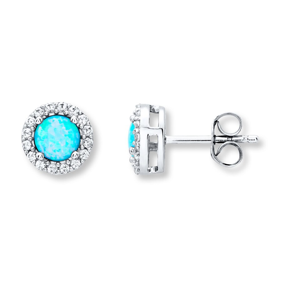 Lab Created Blue Opal Earrings Sterling Silver