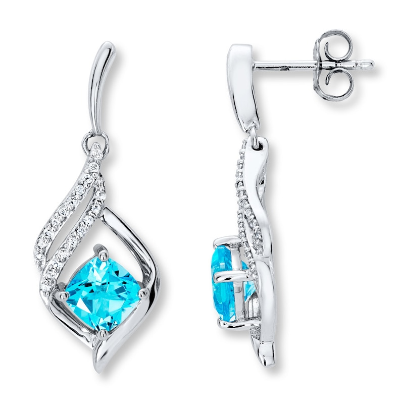 Blue White Topaz Earrings Sterling Silver Womens Earrings Earrings Kay