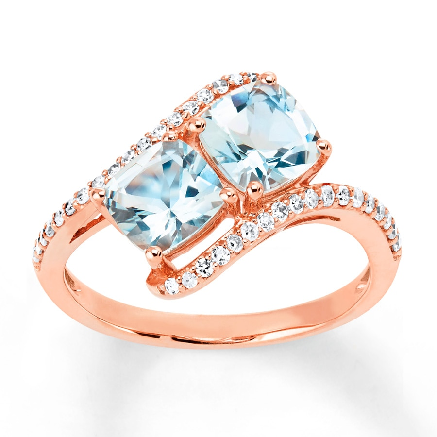 Kay Aquamarine Ring 1 5 ct tw Diamonds 10K Rose Gold
