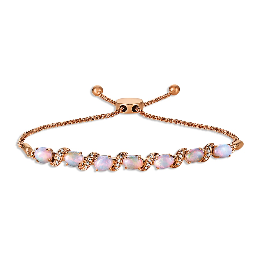 Le Vian Opal And Diamond Bolo Bracelet 14k Strawberry Gold
