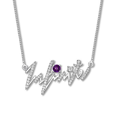 """Infinite"" Heartbeat Necklace Amethyst Sterling Silver"
