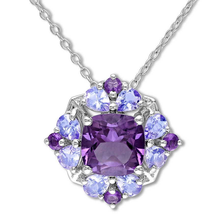 Tanzanite Necklace Tanzanite: Amethyst & Tanzanite Necklace Sterling Silver