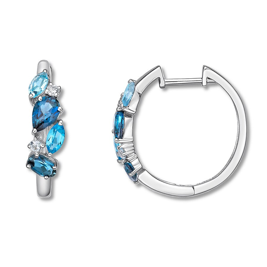 addfcc462 Blue & White Topaz Hoop Earrings Sterling Silver - 375884400 - Kay