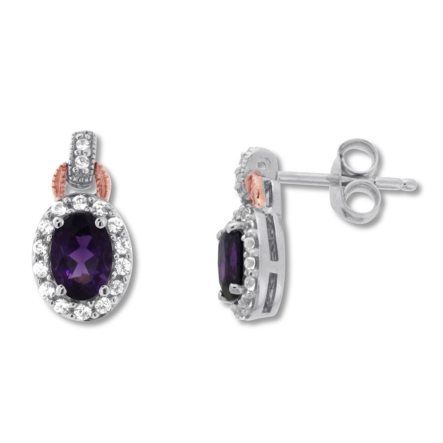 1b772a291 Amethyst Earrings White Topaz Sterling Silver/10K Rose Gold. Tap to expand