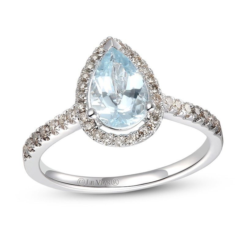 Le Vian Aquamarine Ring 1/4 ct tw Diamonds 14K Vanilla Gold