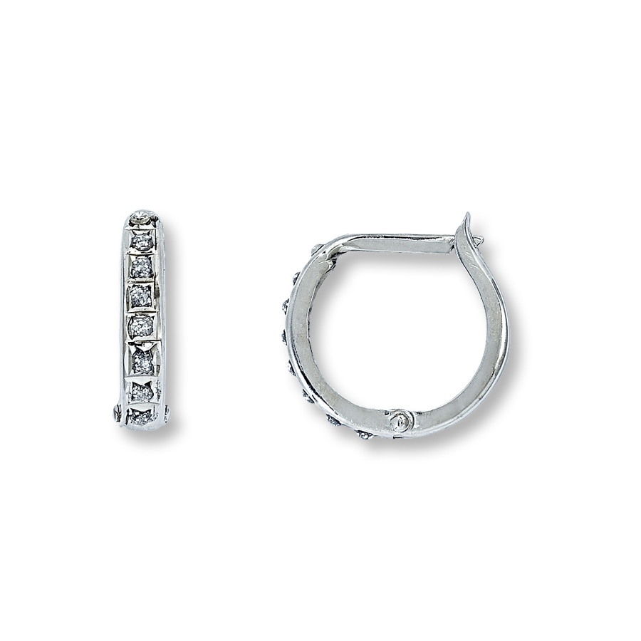 Diamond Hoop Earrings Accents 14k White Gold