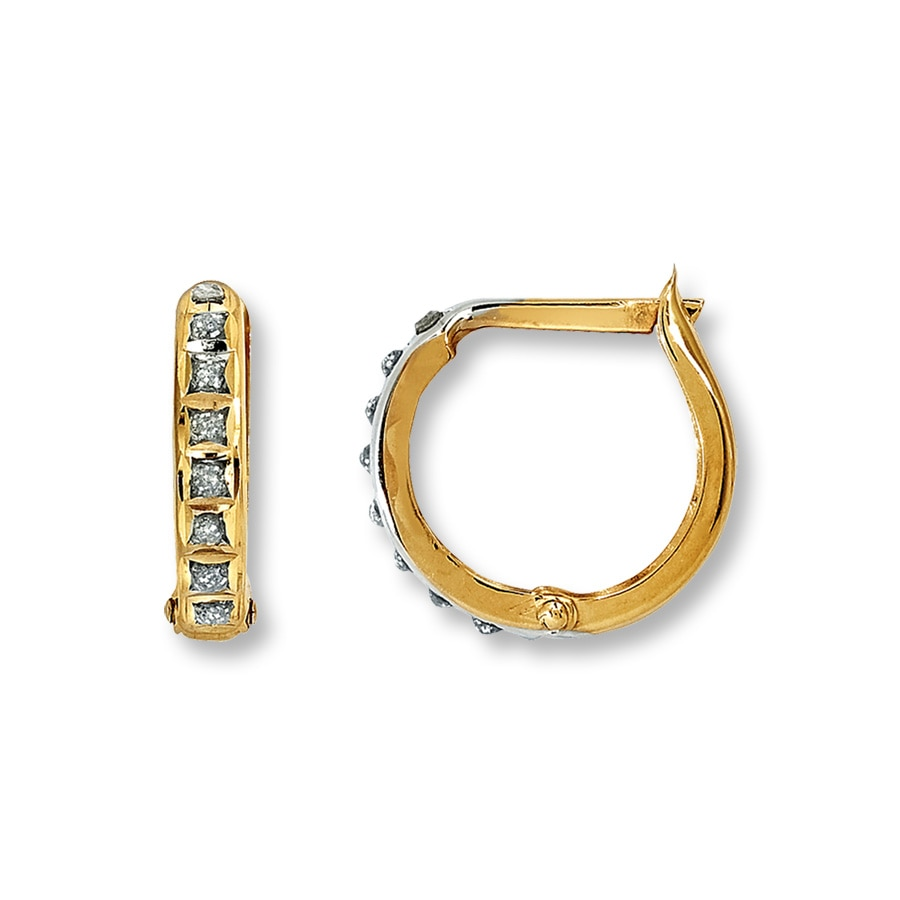 Diamond Hoop Earrings Accent 14k Yellow Gold Tap To Expand