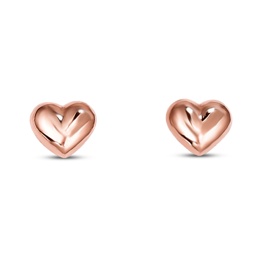 Puffed Heart Earrings 14k Rose Gold Tap To Expand