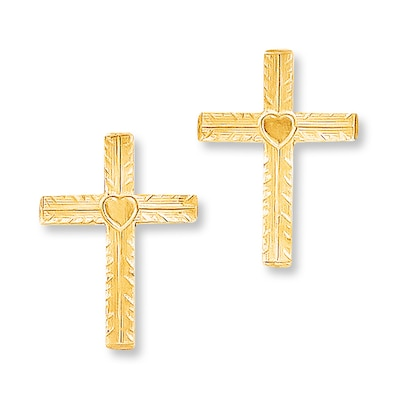 Cross Earrings 14K Yellow Gold