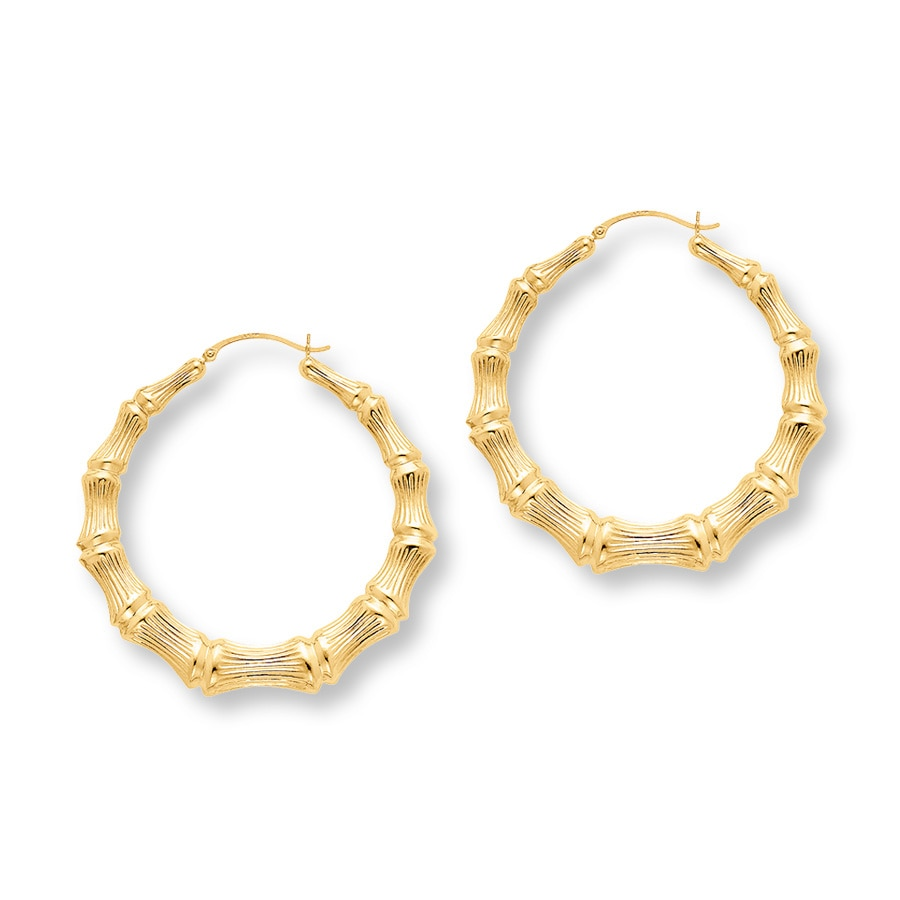 Bamboo Hoop Earrings Large 14k Yellow Gold