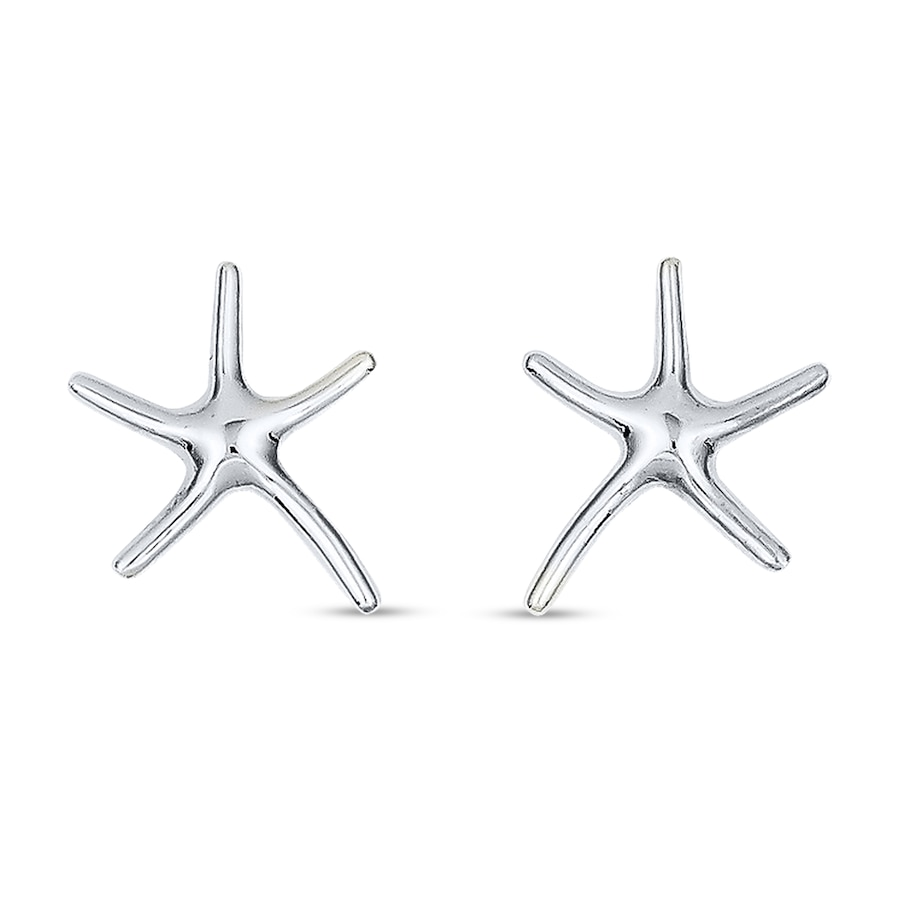 Starfish Earrings 14k White Gold Tap To Expand