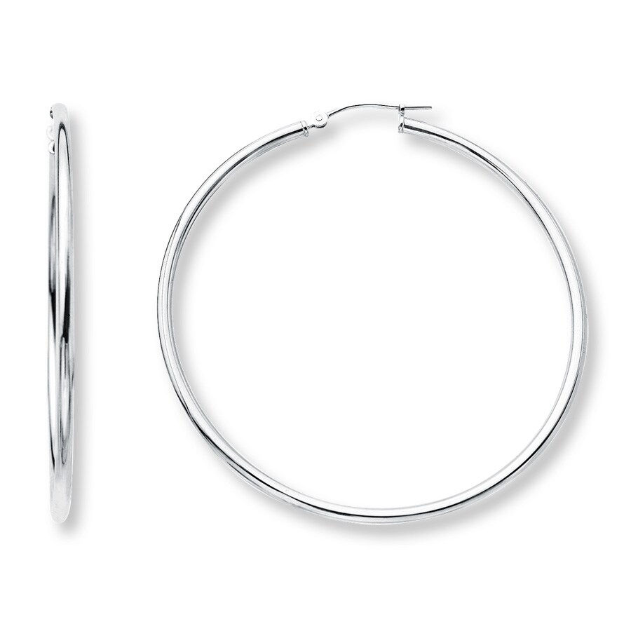 hoop earrings 14k white gold 50mm 392766503 kay. Black Bedroom Furniture Sets. Home Design Ideas