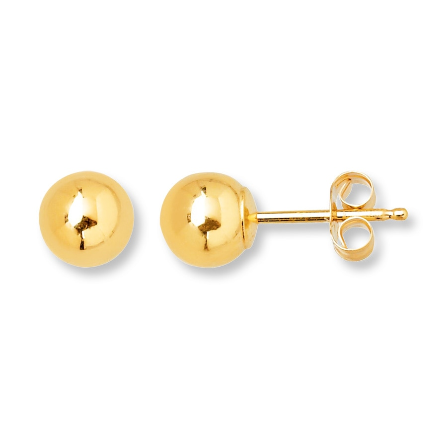 Ball Stud Earrings 5mm 14k Yellow Gold Tap To Expand