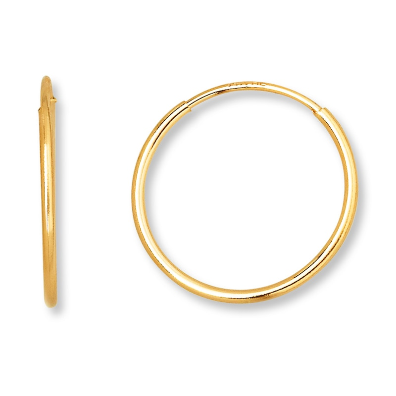 Endless Hoop Earrings 14k Yellow Gold 12mm Kay