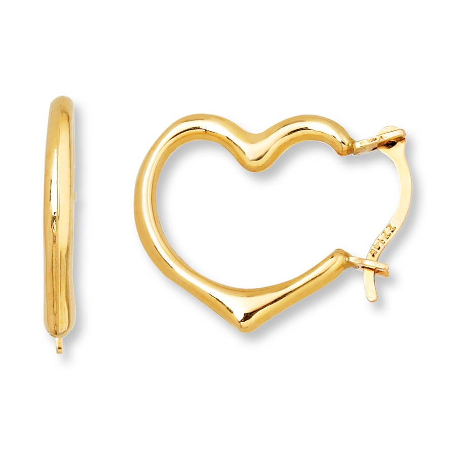 Young Heart Hoop Earrings 14k Yellow Gold Tap To Expand