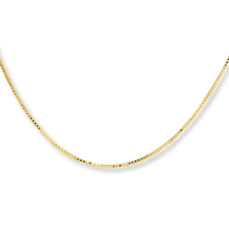 box chain necklace 10k yellow gold 24 quot length