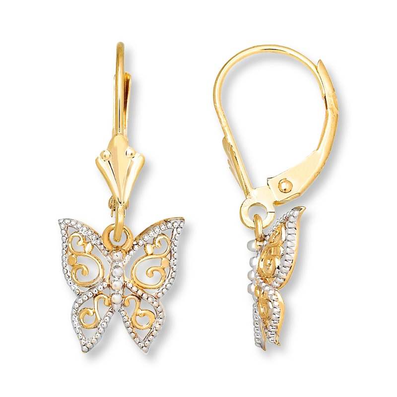 2 in 1 Gold Butterfly Drop Earring