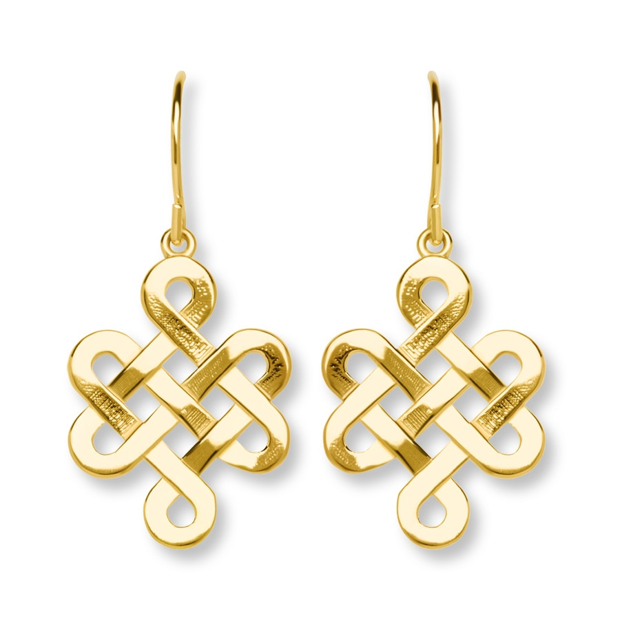 celtic knotwork earrings celtic knot dangle earrings 10k yellow gold 392978007 2863