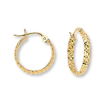 Hoop Earrings 14K Yellow Gold 15mm