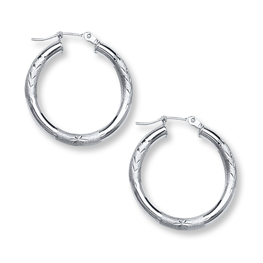 hoop earrings 14k white gold 25mm 393047903 kay. Black Bedroom Furniture Sets. Home Design Ideas