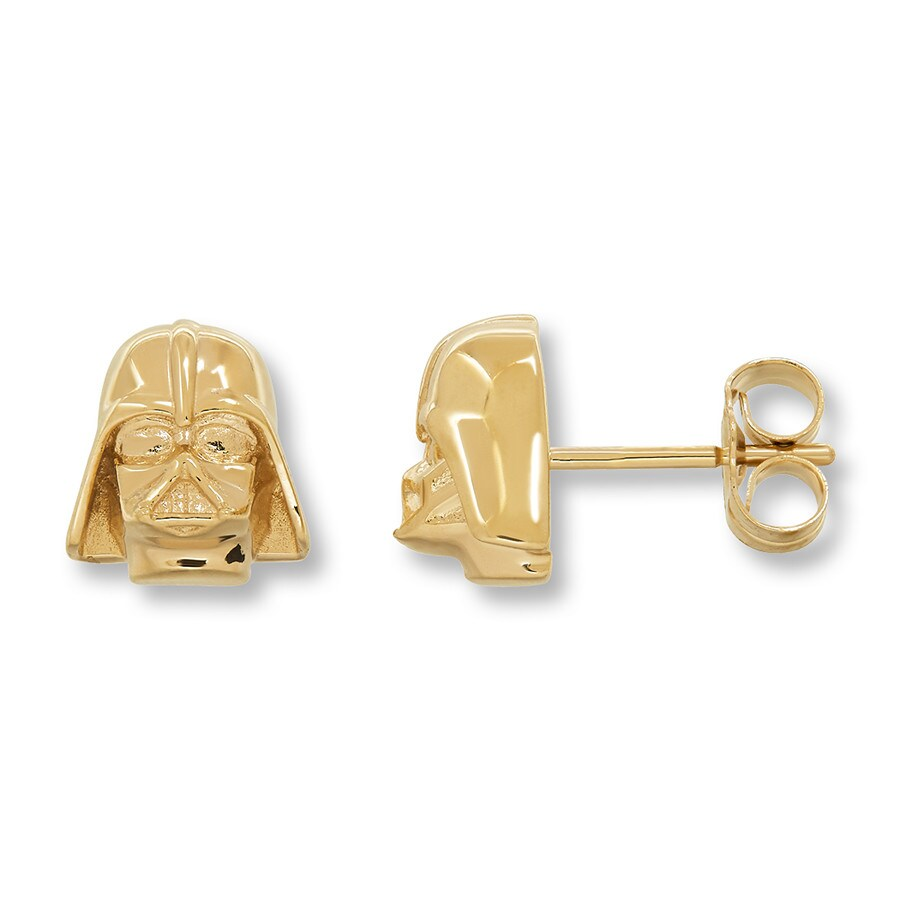 Star Wars Earrings Darth Vader 10K Yellow Gold OI1YfWzLL