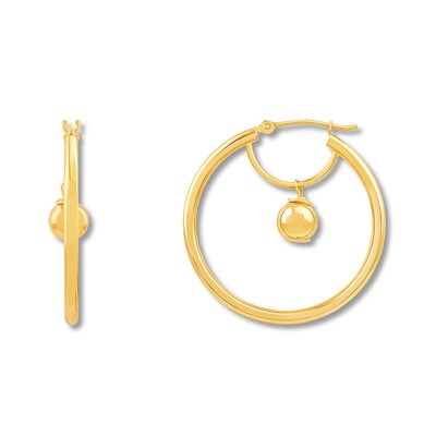 Bead Hoop Earrings 10K Yellow Gold