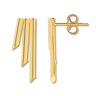 Geometric Bar Earrings 10K Yellow Gold