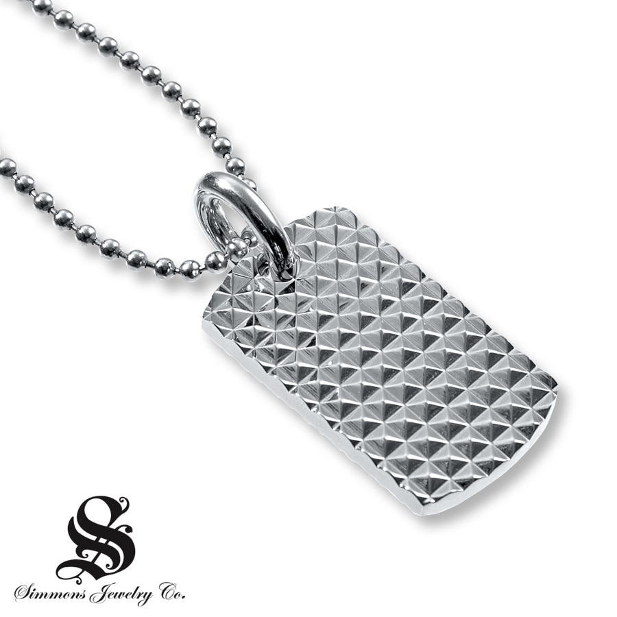 Kay Mens Dog Tag Necklace Diamond Accent Stainless Steel