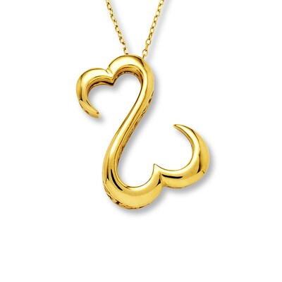 Open Hearts Necklace 14K Yellow Gold Jane Seymour
