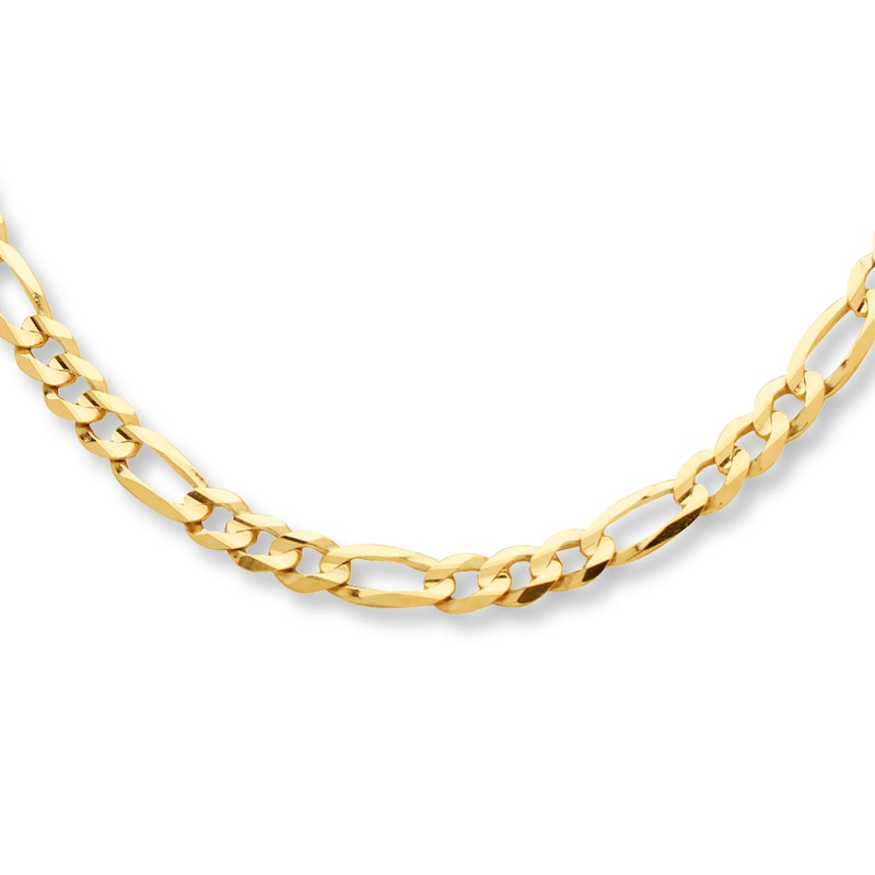 Figaro Necklace 10k Yellow Gold 22 Length Womens Necklaces Necklaces Kay