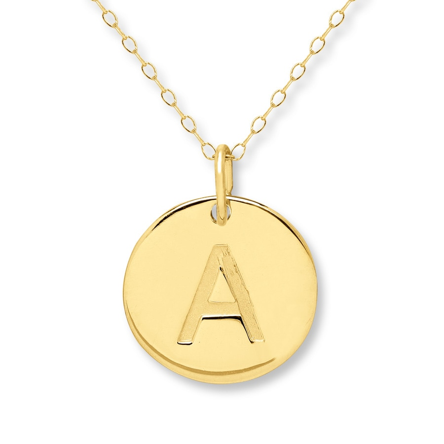 initial quot a quot necklace 14k yellow gold