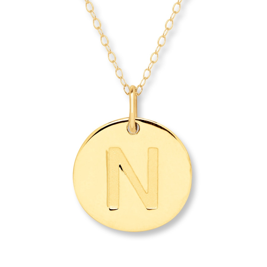 initial quot n quot necklace 14k yellow gold