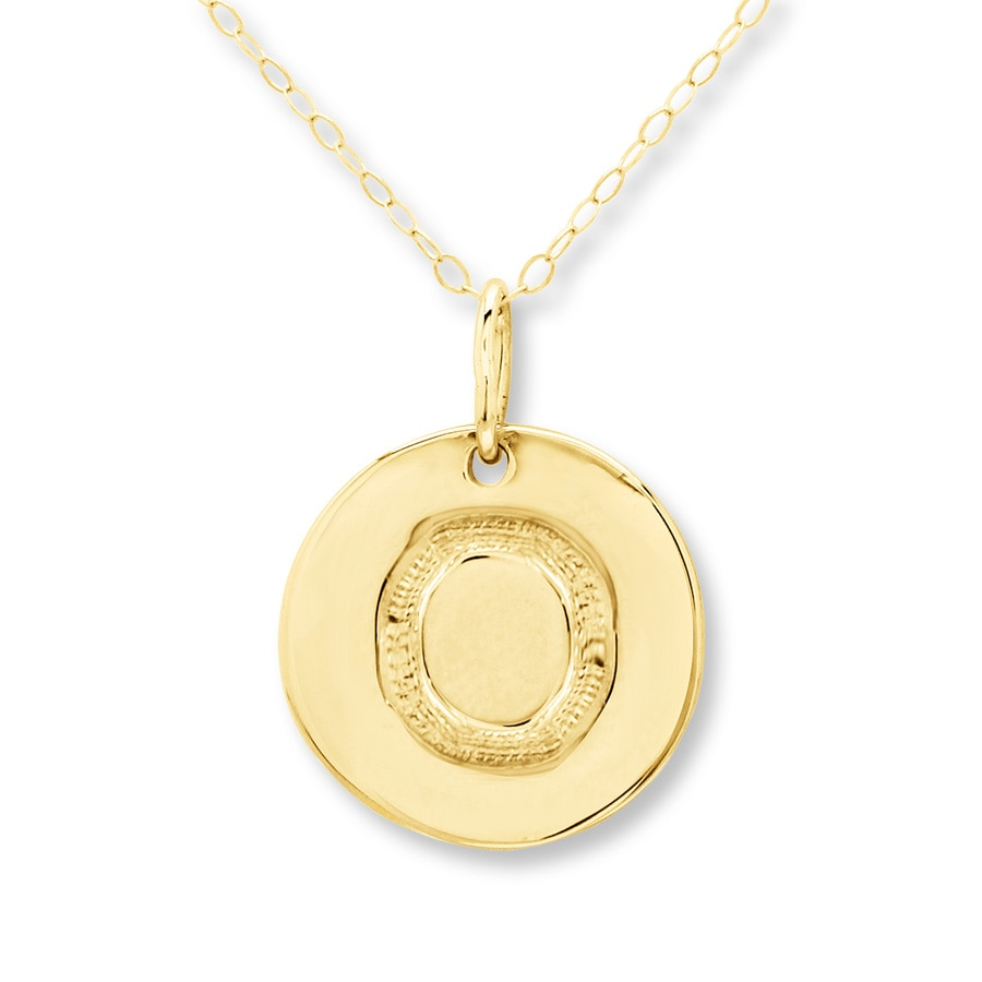 initial quot o quot necklace 14k yellow gold