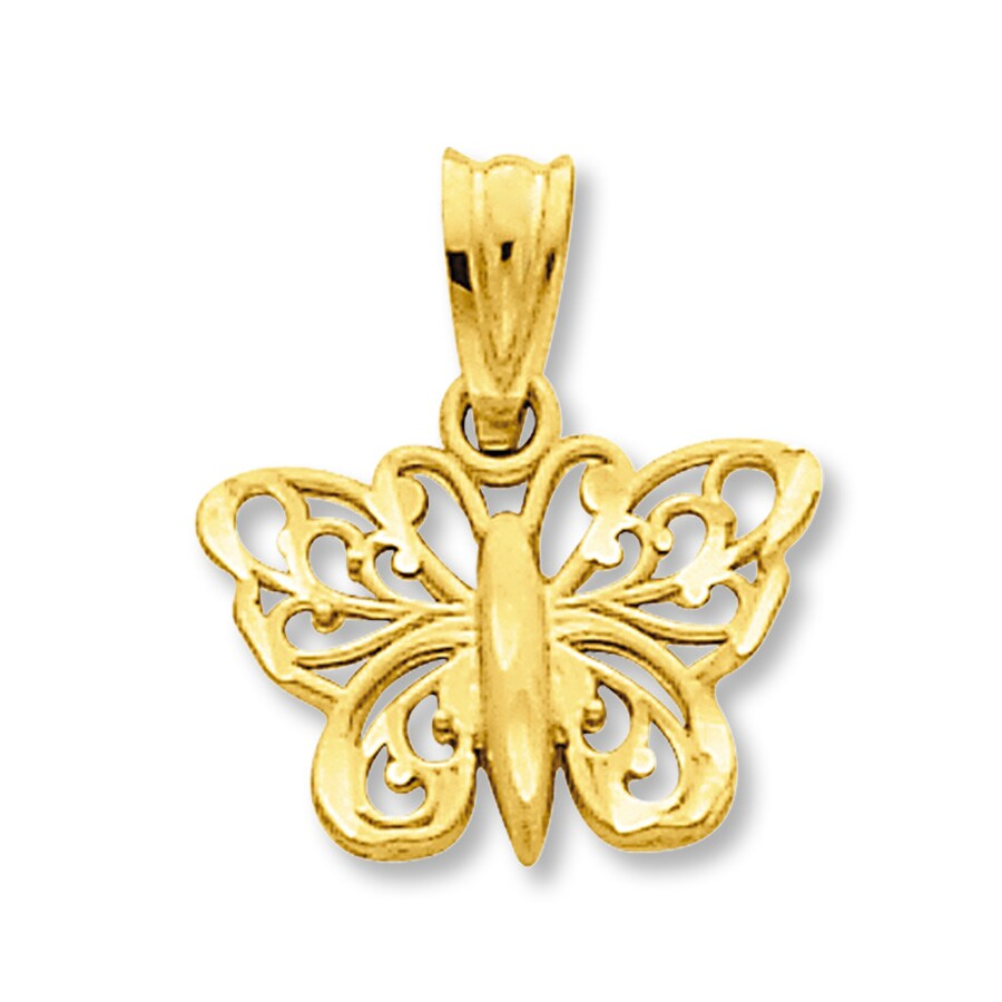 filigree butterfly charm 14k yellow gold