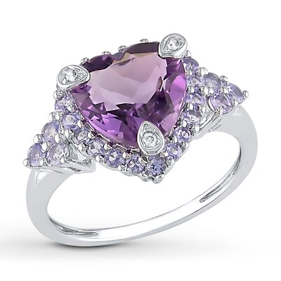 Amethyst Heart Ring Tanzanites and Diamonds 10K White Gold