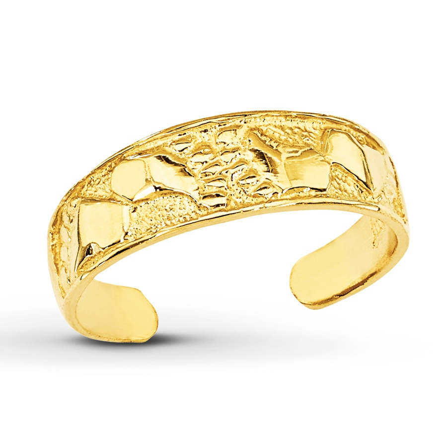 footprints toe ring 14k yellow gold