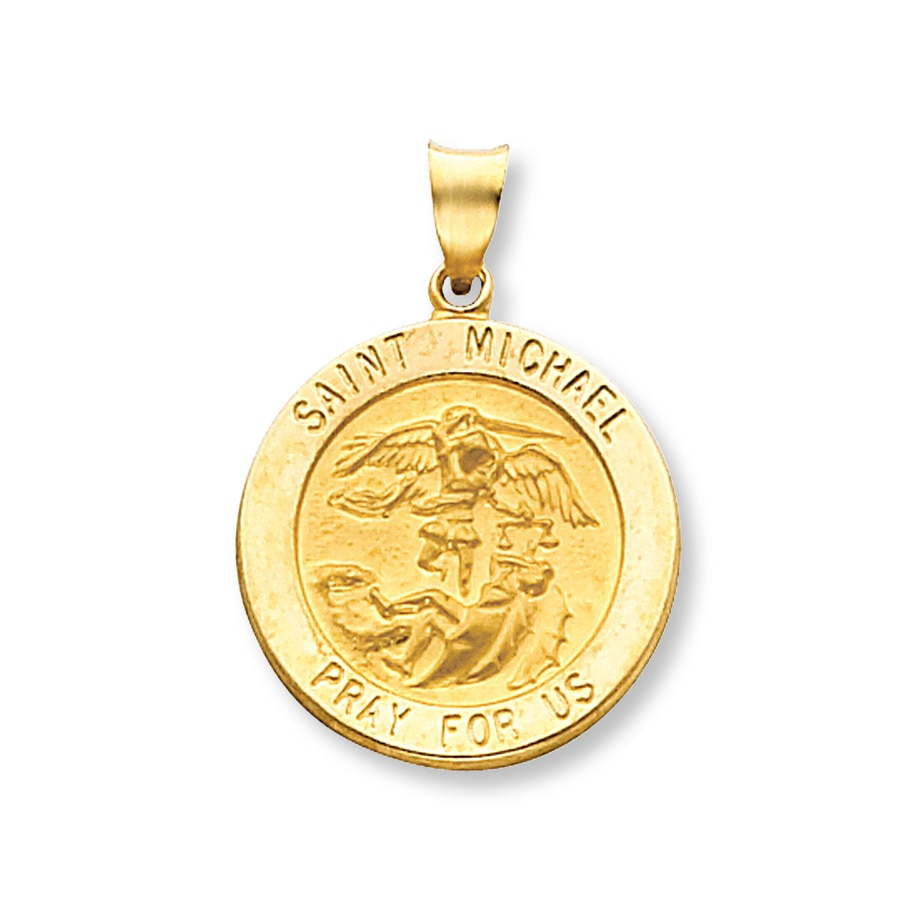 St michael medal charm 14k yellow gold 431232709 kay hover to zoom aloadofball Images