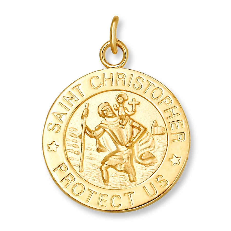 saint gold medallion the p pendant christopher beaverbrooks large context