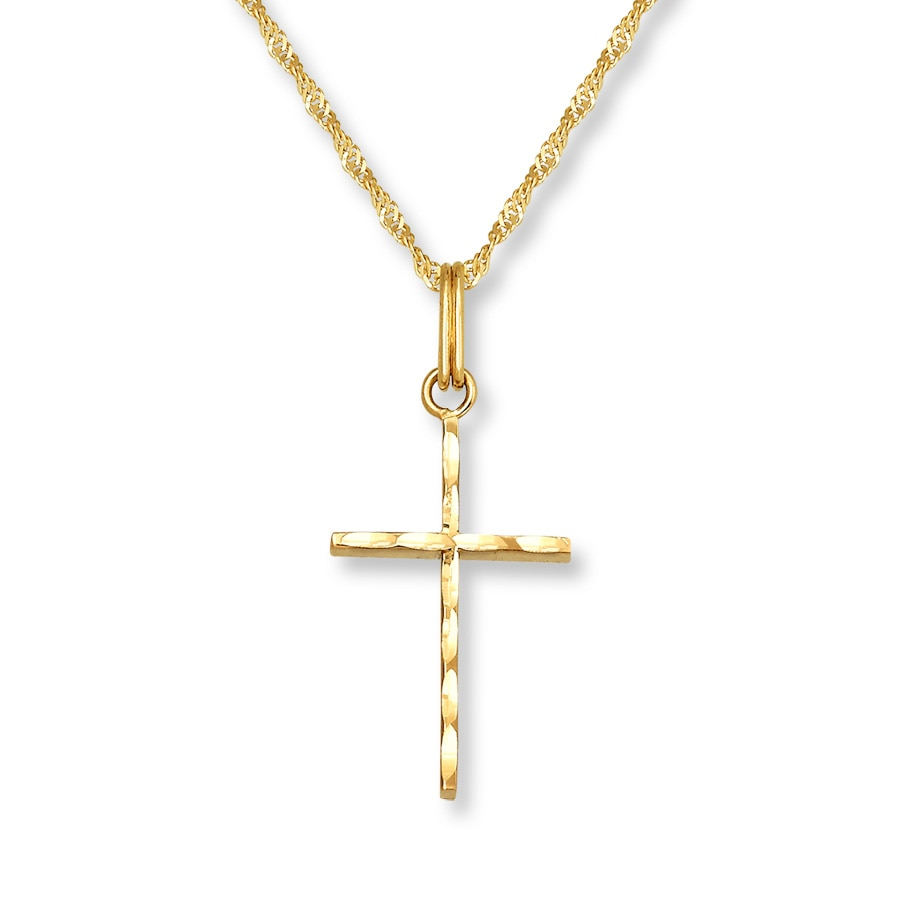 Petite cross necklace 14k yellow gold 431345406 kay petite cross necklace 14k yellow gold mozeypictures Image collections