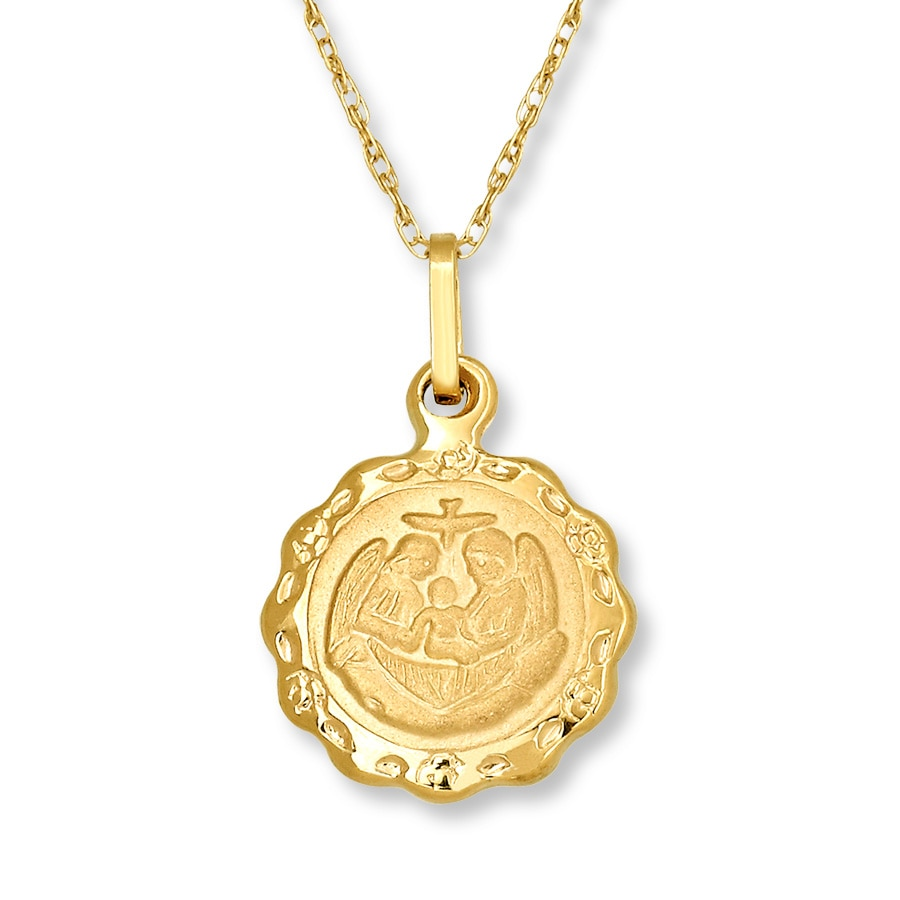 Kay Childrens Baptism Medal Necklace 14K Yellow Gold