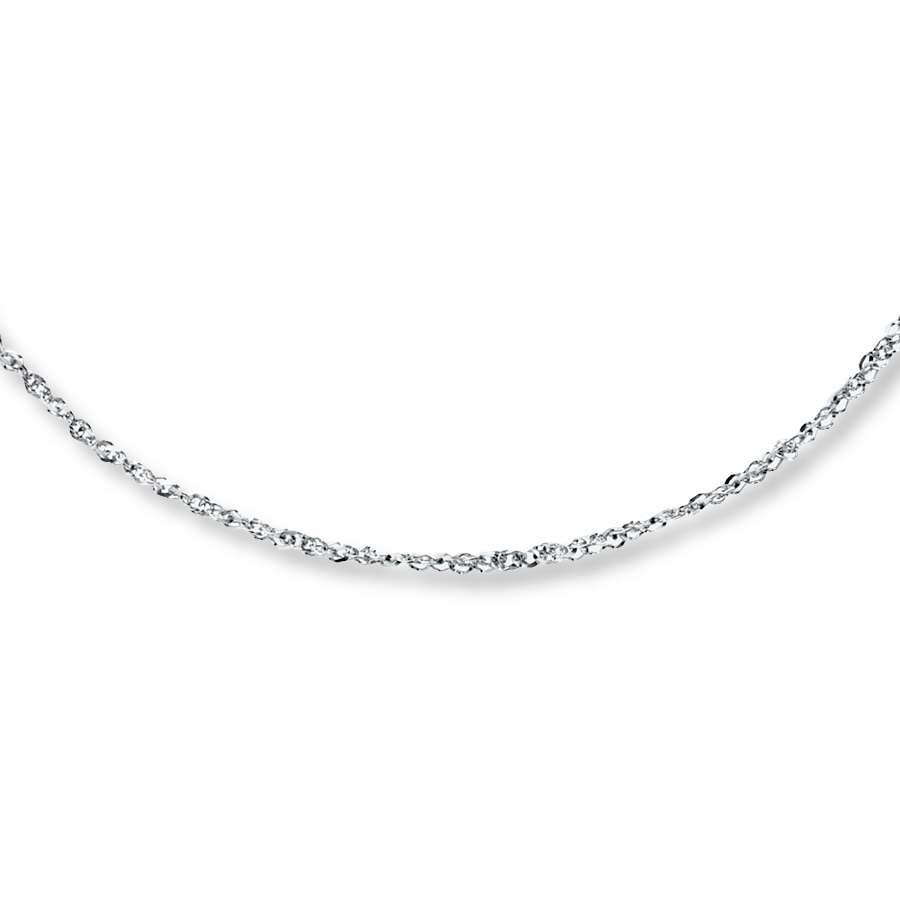 sparkle chain necklace 14k white gold 20 length. Black Bedroom Furniture Sets. Home Design Ideas