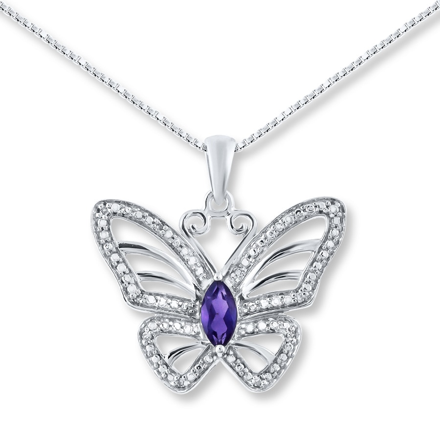 Butterfly Necklace Amethyst Amp Diamonds Sterling Silver